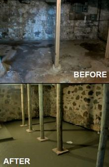 A before-and-after comparison of our basement maintenance services | Basement leak repair in Madison, WI